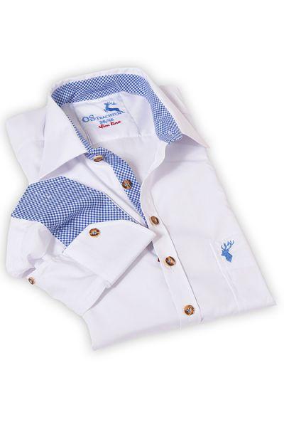 Herren Trachten Hemd langarm in weiß blau von OS Trachten