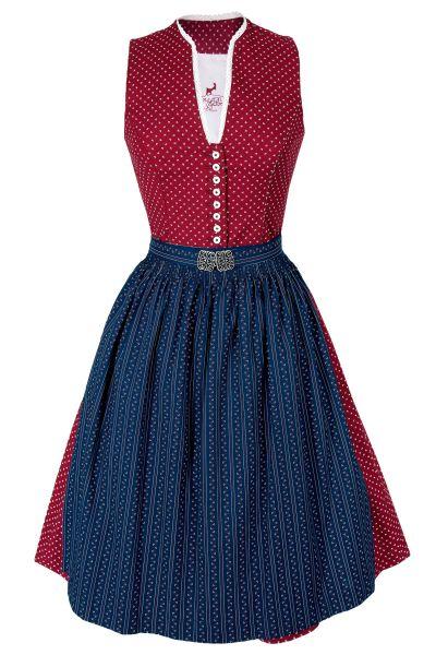 Midi Dirndl Lisa in rot mit blauer Schürze