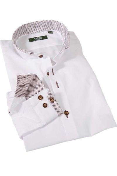 Exklusives Trachtenhemd in weiß braun gemustert