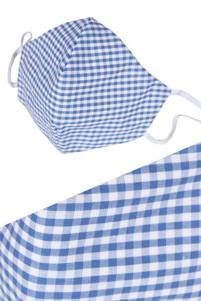 Bayerische Gesichtsmaske in weiß blau kariert