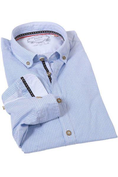 Trachtenhemd von pure in wasserblau mit Stretch