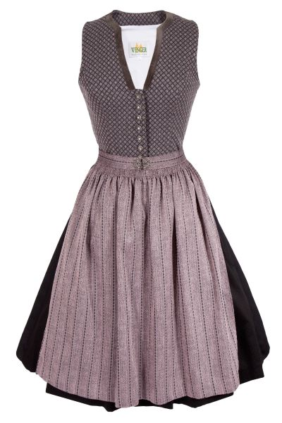 Midi Dirndl Celine in grau im Vintage Design