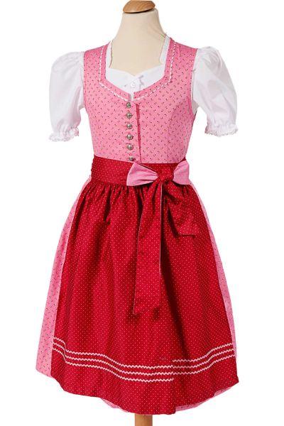 Kinder Dirndl aus Baumwolle in rosa und rot mit Blümchen