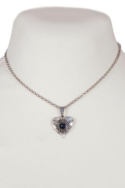 Trachtenkette in silber mit Herz und blauem Stein