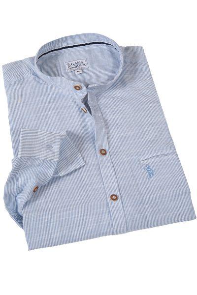 Trachtenhemd hellblau gestreift mit Stehkragen