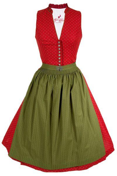 Midi Dirndl Rita aus Baumwolle in rot und grün