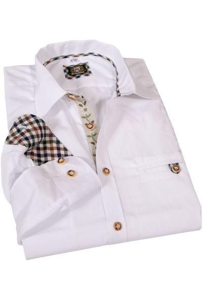 Herren Trachten Hemd in weiß mit Edelweiss