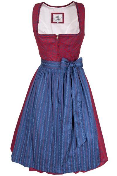 Baumwolldirndl Lena in rot und blau mit Reißverschluss