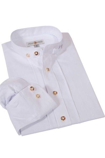 Trachtenhemd Herren in weiß mit Stehkragen und Biesen