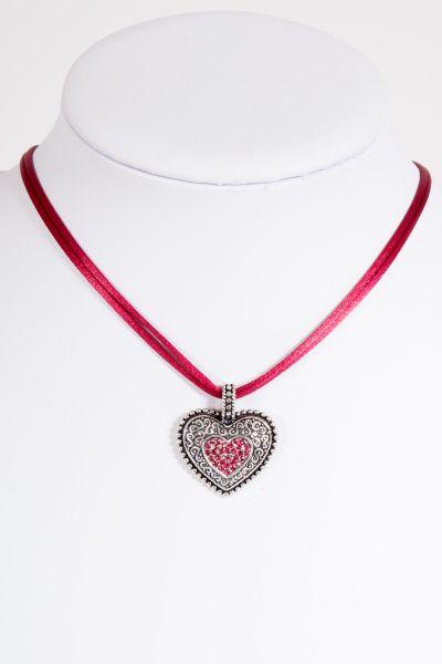 Trachtenkette mit Satinband in weinrot und silbernem Herz