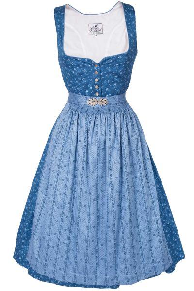 Midi Dirndl Karin aus Baumwolle in blau