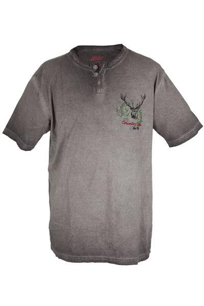 Trachten T-Shirt für Herren in grau mit Hirschkopf von Lekra