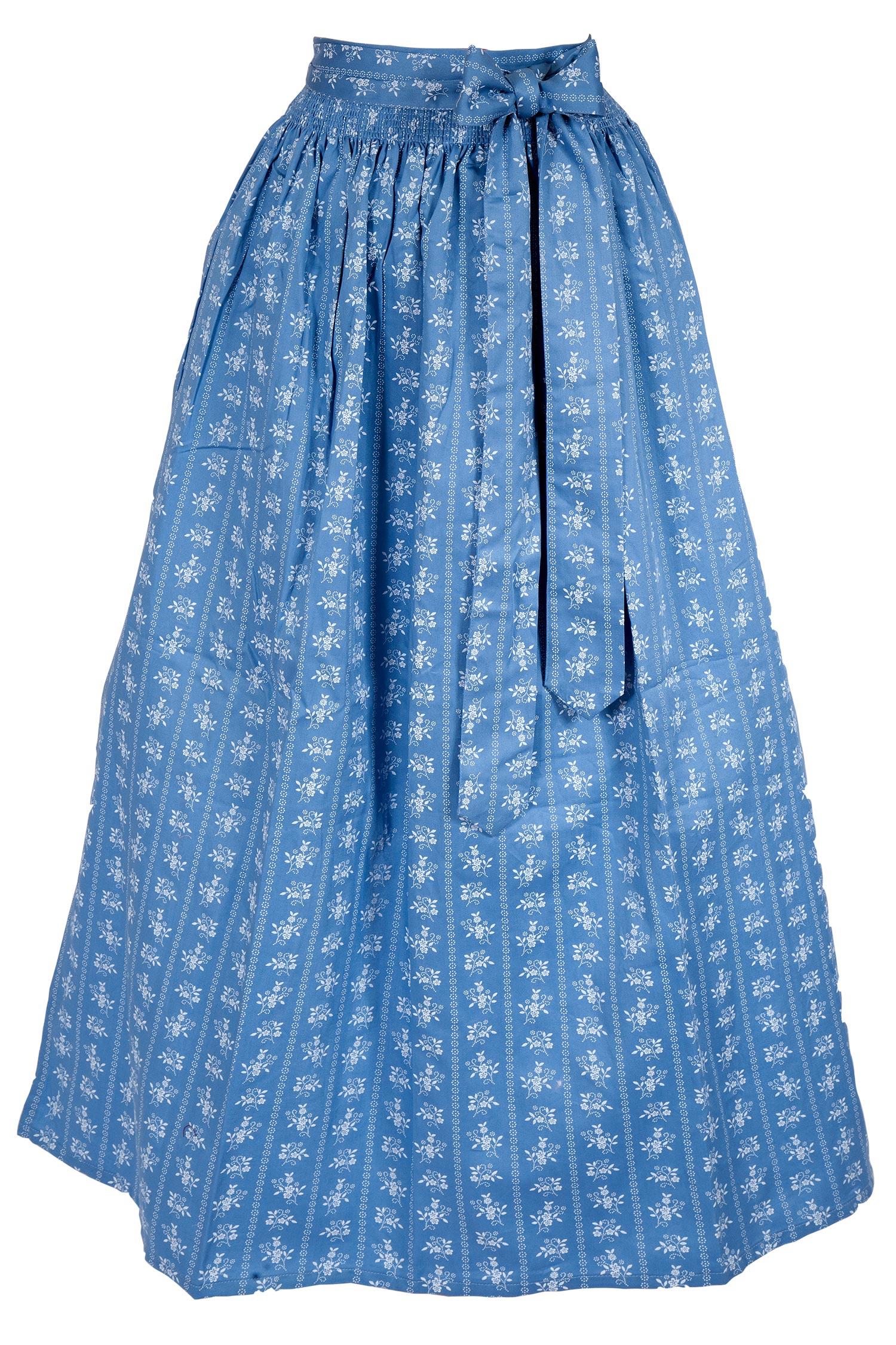 6486a60f41d802 Dirndlschürze lang aus Baumwolle in blau | Wirkes