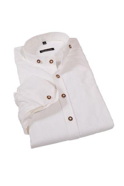Trachtenhemd in ecrue mit Stretch und Stehkragen