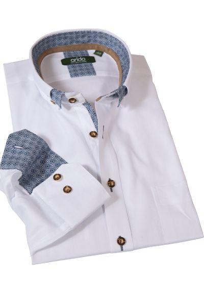 Trachtenhemd Oxford in weiß mit blauen Details