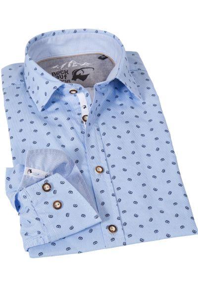 Trachtenhemd in hellblau mit Brezn Muster