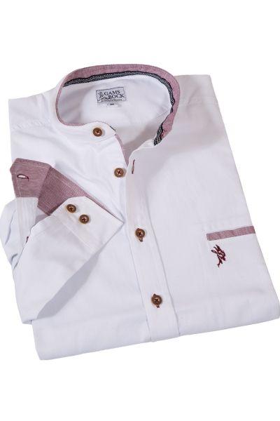 Trachtenhemd mit Stehkragen mit weinroten Details