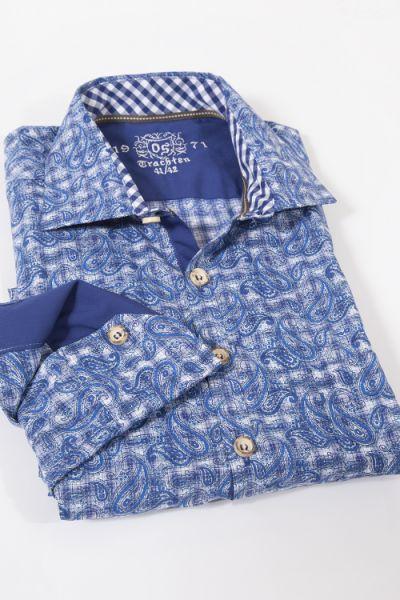 Trachtenhemd in blau mit trendigen Paisley und Hornknöpfen