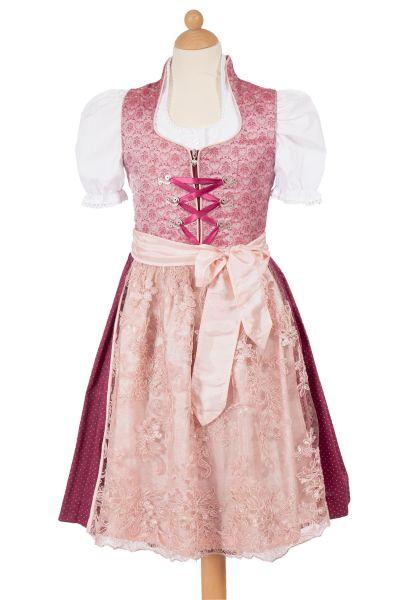 Kinderdirndl Nicole in rosa und beere mit Schnürung
