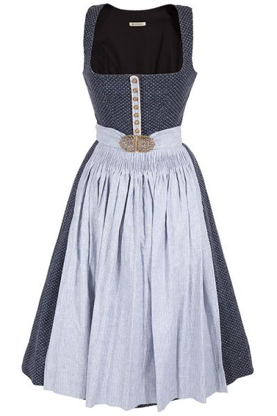 Hoch traditionelles Dirndl Monika in dunkelblau mit Stretch