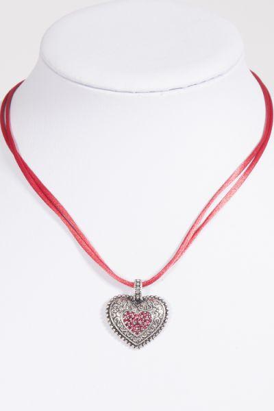 Trachtenkette / Dirndlkette mit Satinband in rot und silbernem Herz Detail