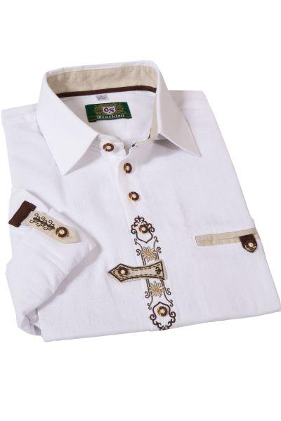 Trachtenhemd im Landhausstil weiß mit braunen Details