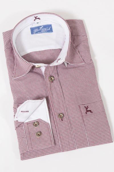 Trachtenhemd mit feinem Vichykaro in weinrot weiß von Gamsbock