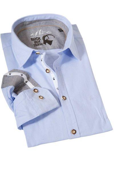 Trachtenhemd Oxford in hellblau strukturiert