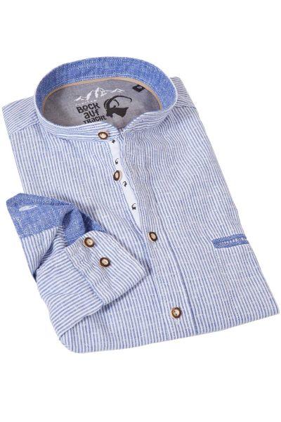 Trachtenhemd mit Leinen und Streifen in wasserblau