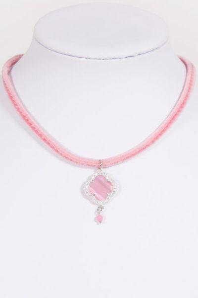 Trachtenkette Kleeblatt 925er silber mit weißen Steinen und rosa