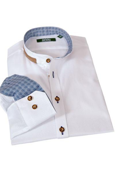 Arido Trachtenhemd weiß mit blauem Muster und Velours