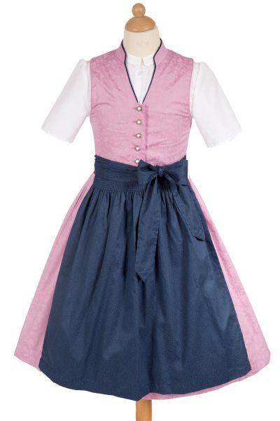 Kinderdirndl Viki aus Baumwolle in rosa und dunkelblau