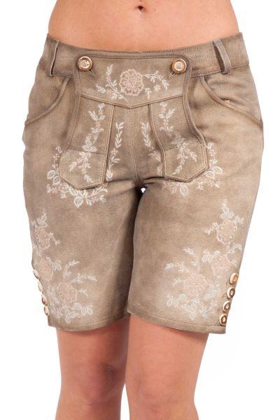 Damen Lederhose kurz in sand mit rosa Stick
