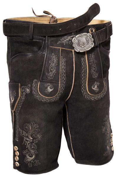 Lederhose kurz für Herren in schwarz mit Gürtel