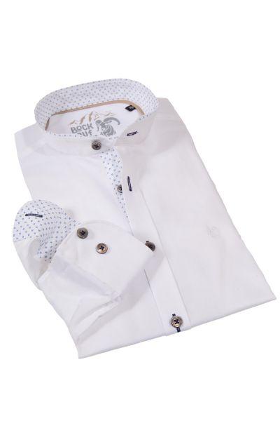 Trachtenhemd in weiß mit Stehkragen und Muster