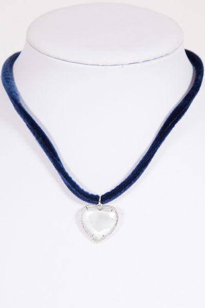 Trachtenkette Herz mit Steinen an Samtband in dunkelblau