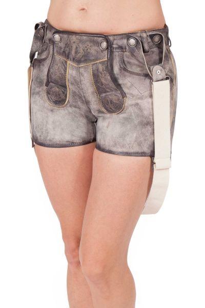 Lederhose kurz für Damen mit Träger in grau stein