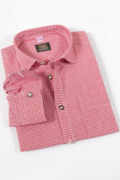 Kinder Trachtenhemd rot kariert - Kinderhemd Tracht