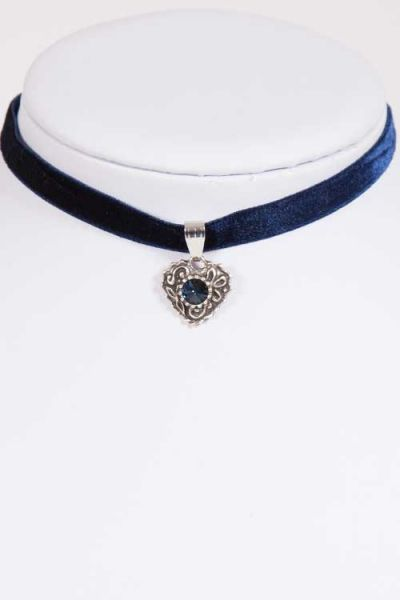 Trachtenkette Kropfband Choker in dunkelblau aus Samt