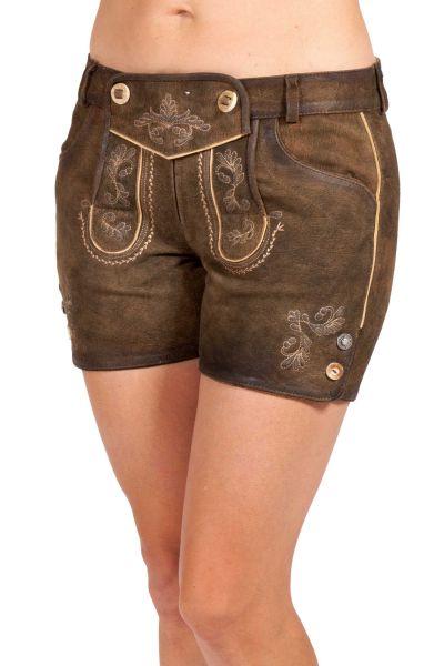 Lederhose kurz für Damen in braun