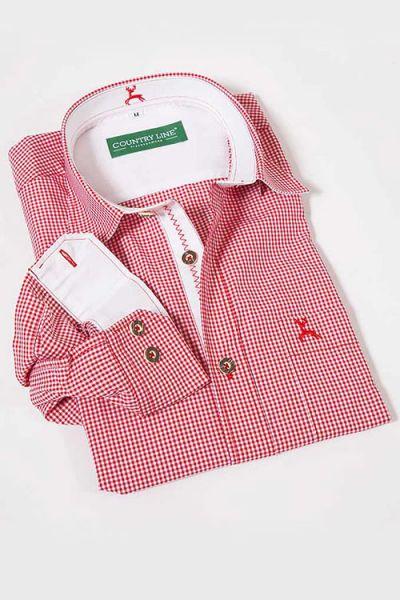 Trachtenhemd Vichykaro rot-weiß