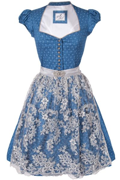Mini Dirndl Emilia in blau mit Ärmeln