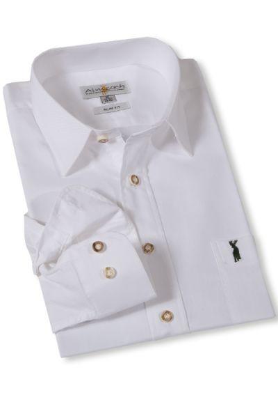 Trachtenhemd von Almsach weiß in Slimfit