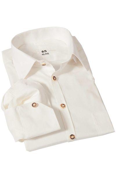 Trachtenhemd klassisch in creme mit Hornknöpfen