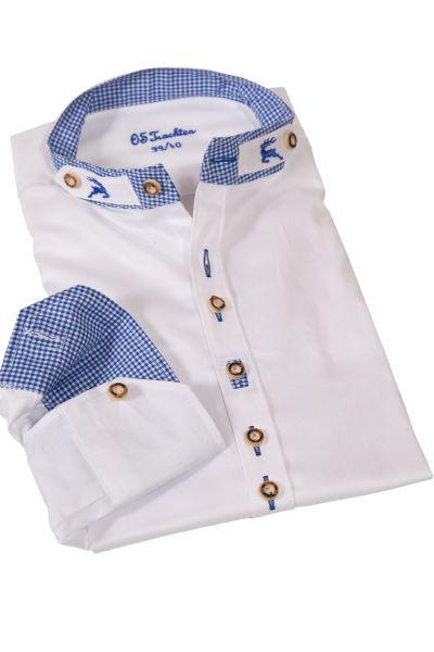 Trachtenhemd weiß mit Stehkragen und blauen Details