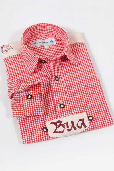 Trachten Hemd für Kinder in rot weiß kariert Leinen Optik