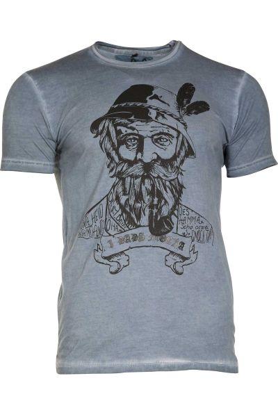 Herren Trachten T-Shirt Kurtl von MarJo in blau