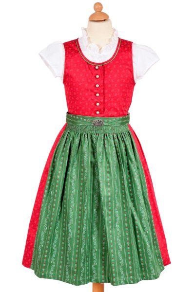 Kinderdirndl Joy traditionell in rot und grün