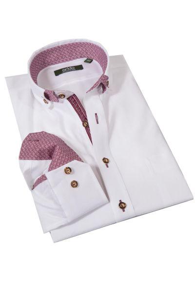 Trachtenhemd von arido in weiß mit weinroten Details