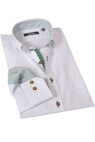 Trachtenhemd in rein weiß mit grünem Muster von arido
